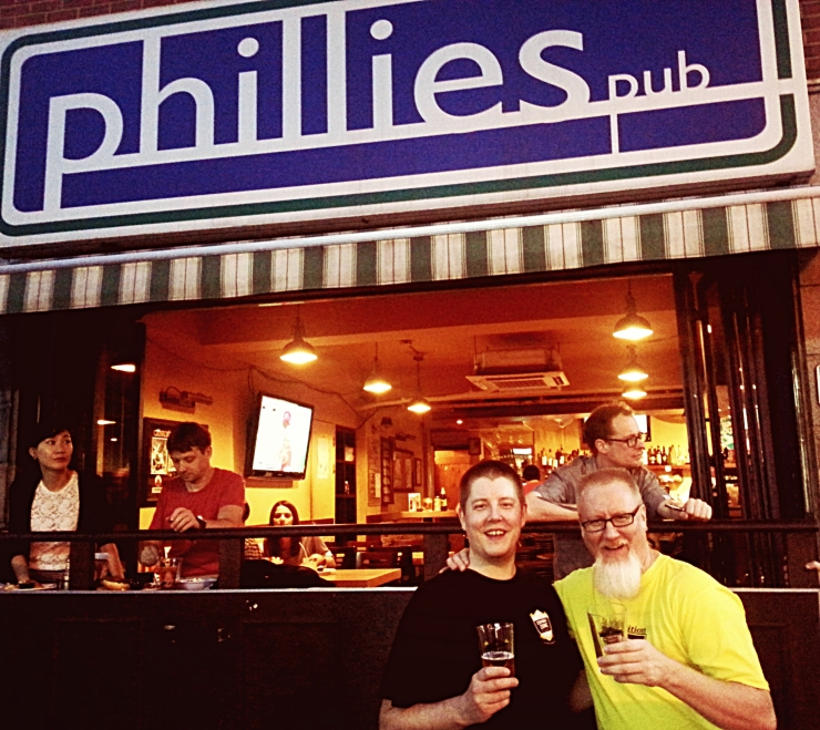 Hand & Malt's Bryan Kunkel and Maloney Brewing Company's Bill Miller enjoying some Combat Zone outside Phillies.