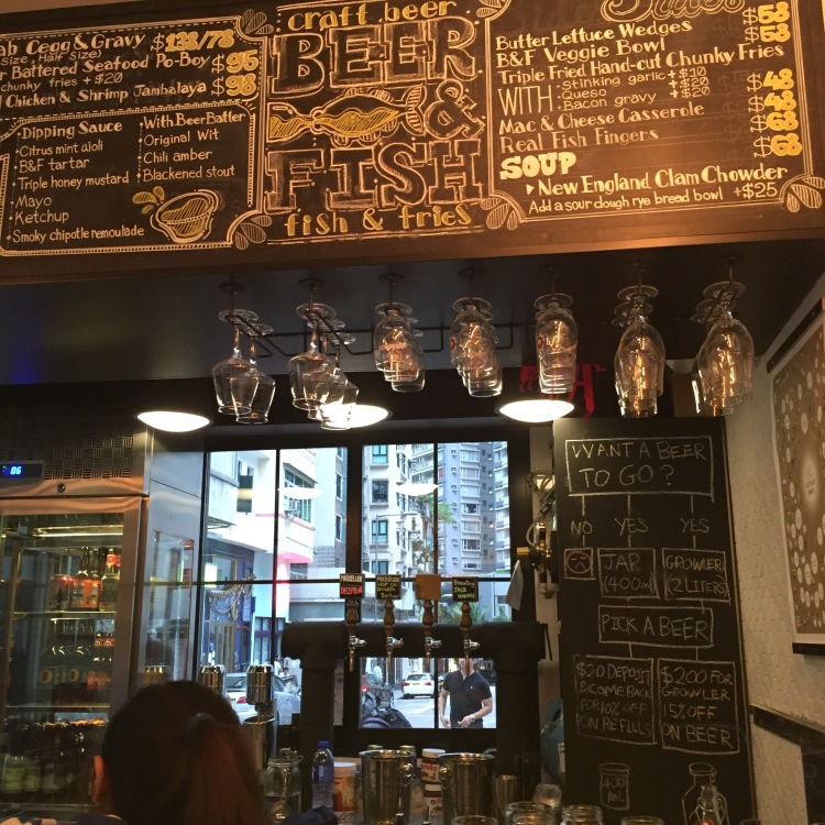 "Craft Beer and Fish & chips at ""Beer & Fish"" in Hong Kong."
