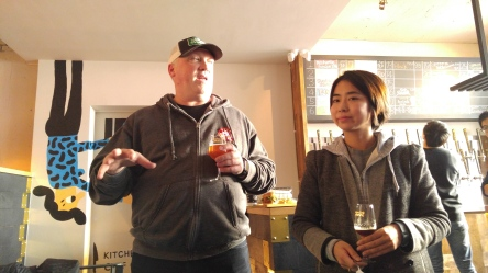 At Mikkeller Seoul, managed by The Booth. Michael Jordan (left) of Boxing Cat Brewery talks about his beer while The Booth co-founder Heeyoon Kim.